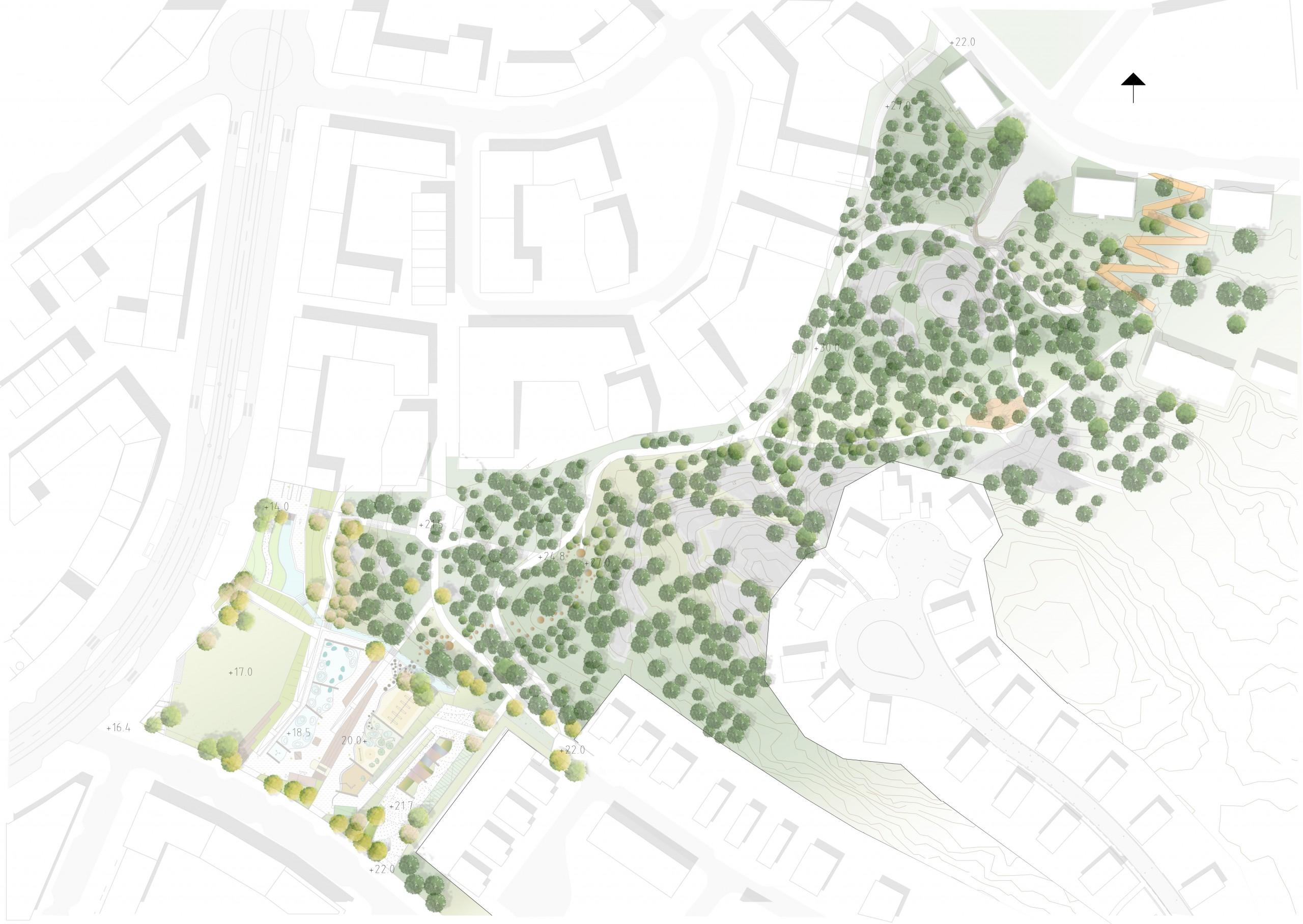 aerial sketch of park